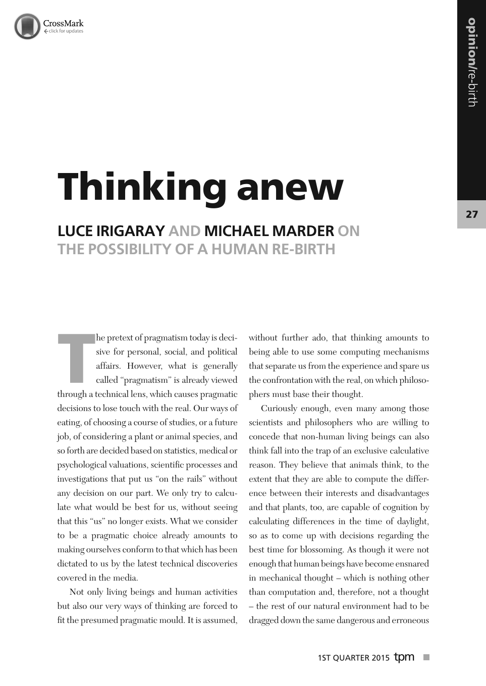 Thinking anew - Luce Irigaray, Michael Marder - The