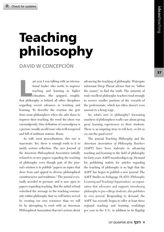 Teaching philosophy - David W  Concepción - The Philosophers