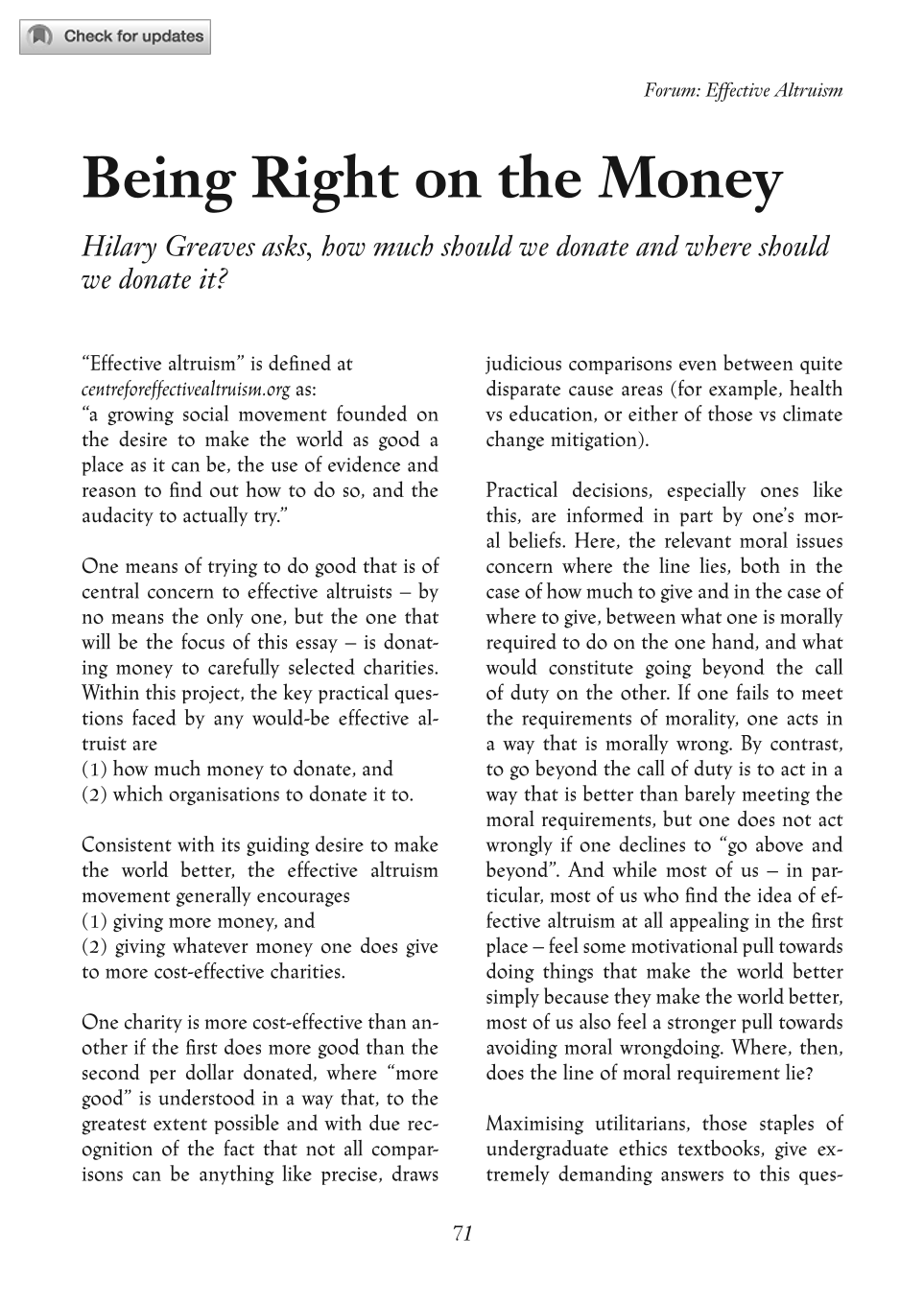 being right on the money hilary greaves the philosophers document is being loaded