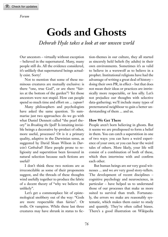 Gods and Ghosts - Deborah Hyde - The Philosophers' Magazine