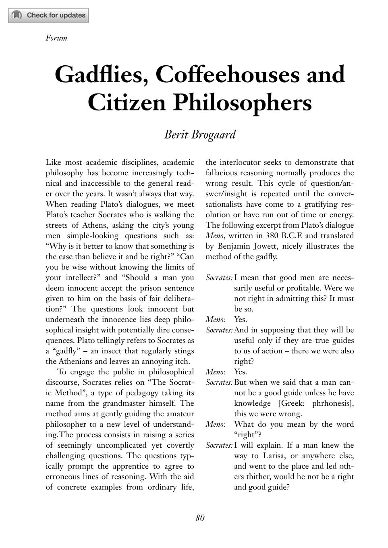 Gadflies, Coffeehouses and Citizen Philosophers - Berit