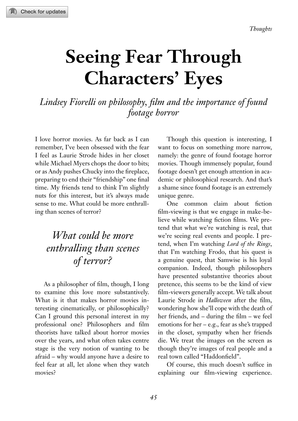 Seeing Fear Through Characters' Eyes - Lindsey Fiorelli