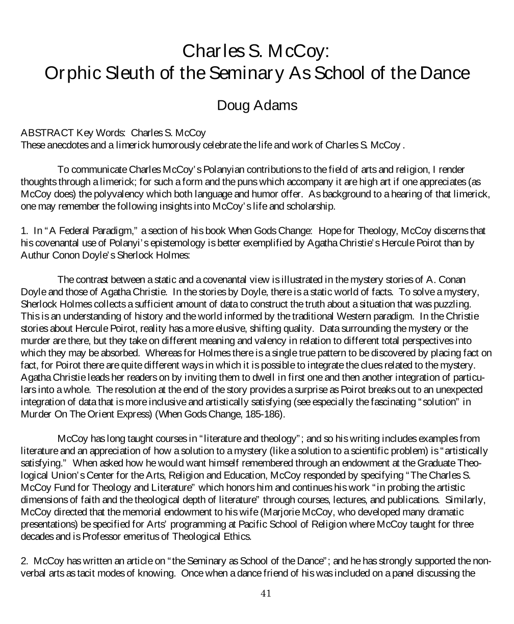 Charles S  McCoy: Orphic Sleuth of the Seminary As School of