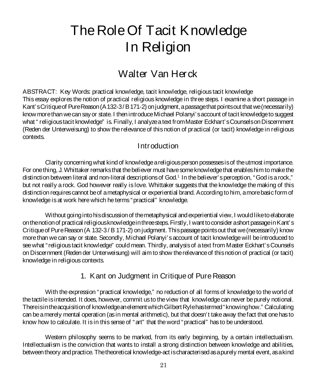 The Role Of Tacit Knowledge In Religion - Walter Van Herck