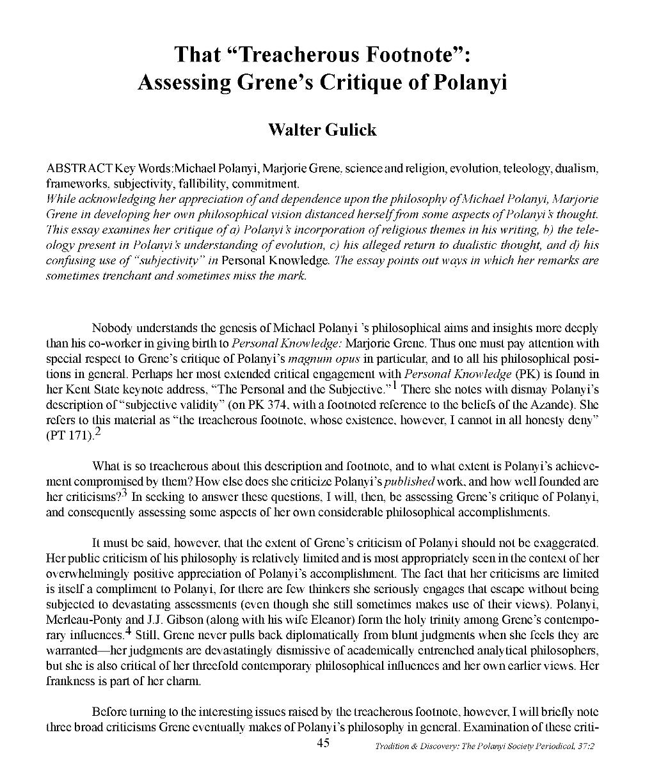 Critique of article