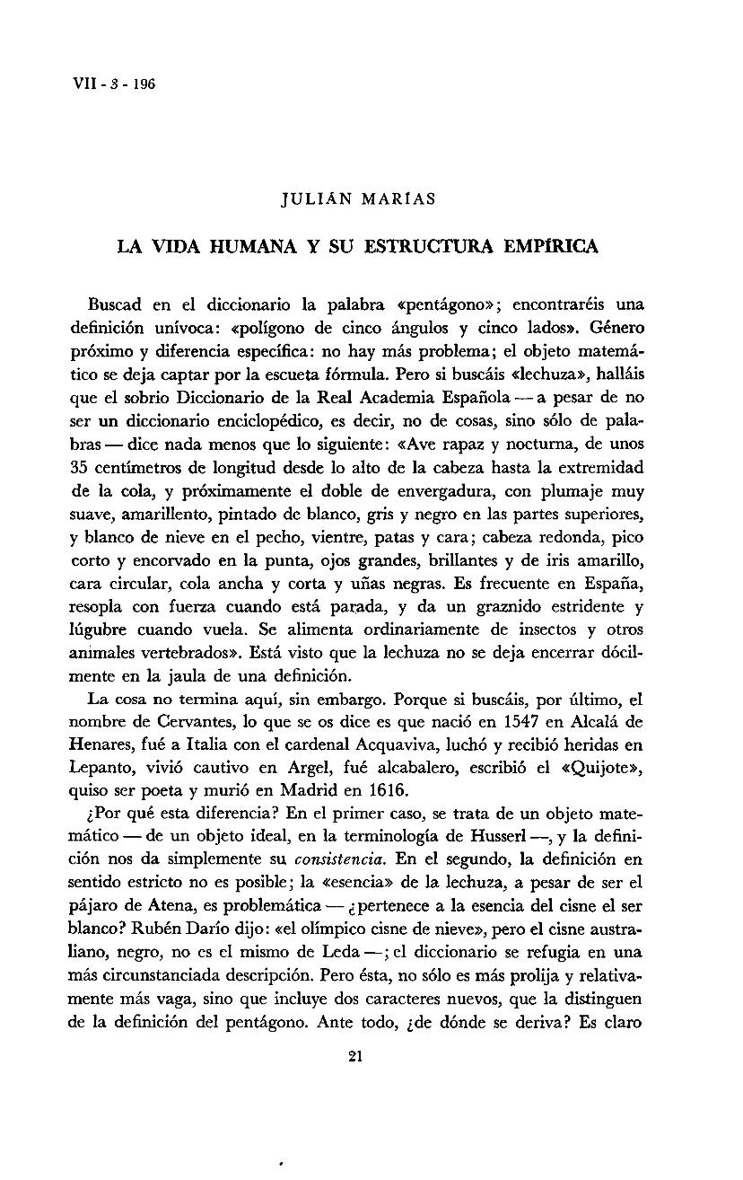 La Vida Humana Y Su Estructura Empírica Julián Marias