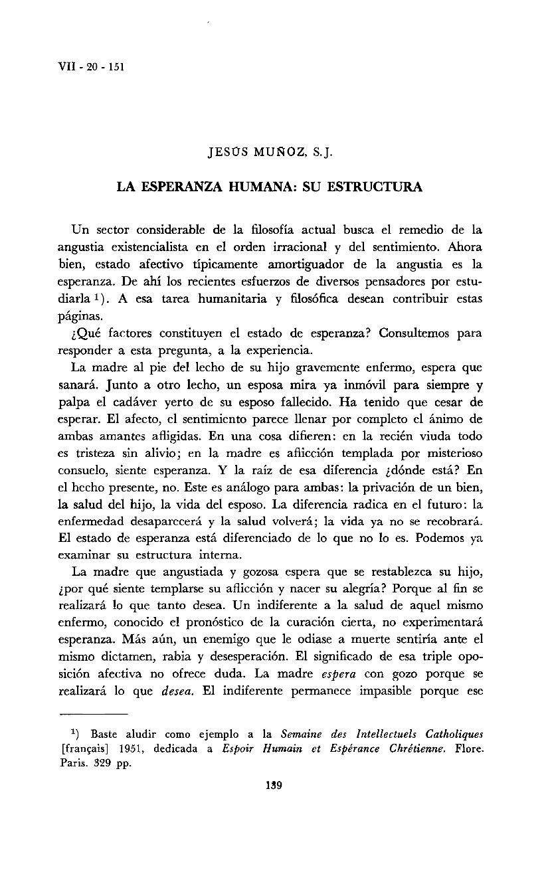 La Esperanza Humana Su Estructura Jesús Muñoz