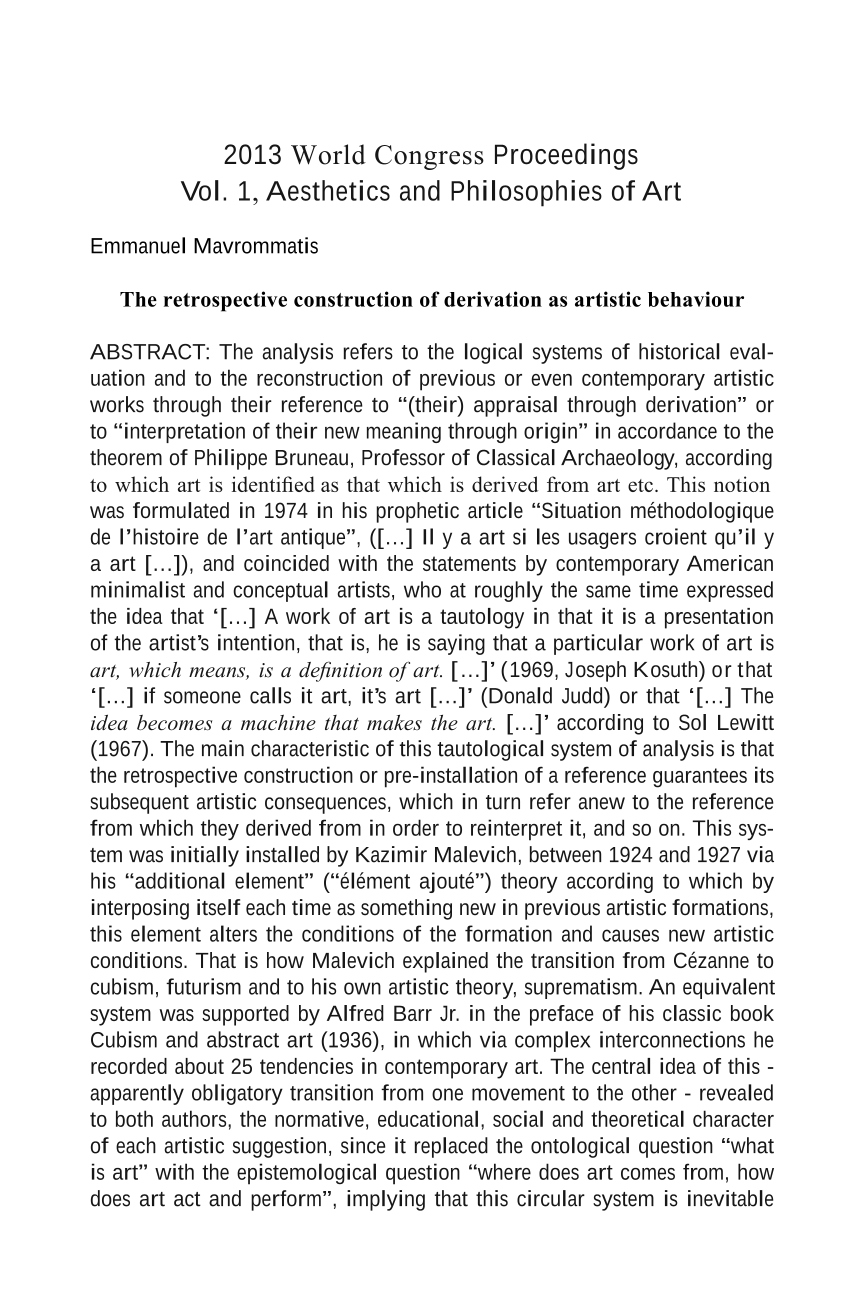 The Retrospective Construction of Derivation as Artistic Behaviour