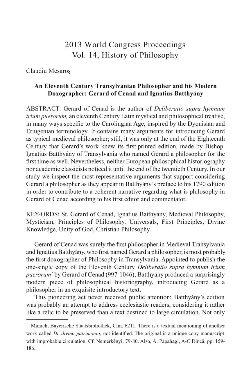 An Eleventh Century Transylvanian Philosopher and his Modern