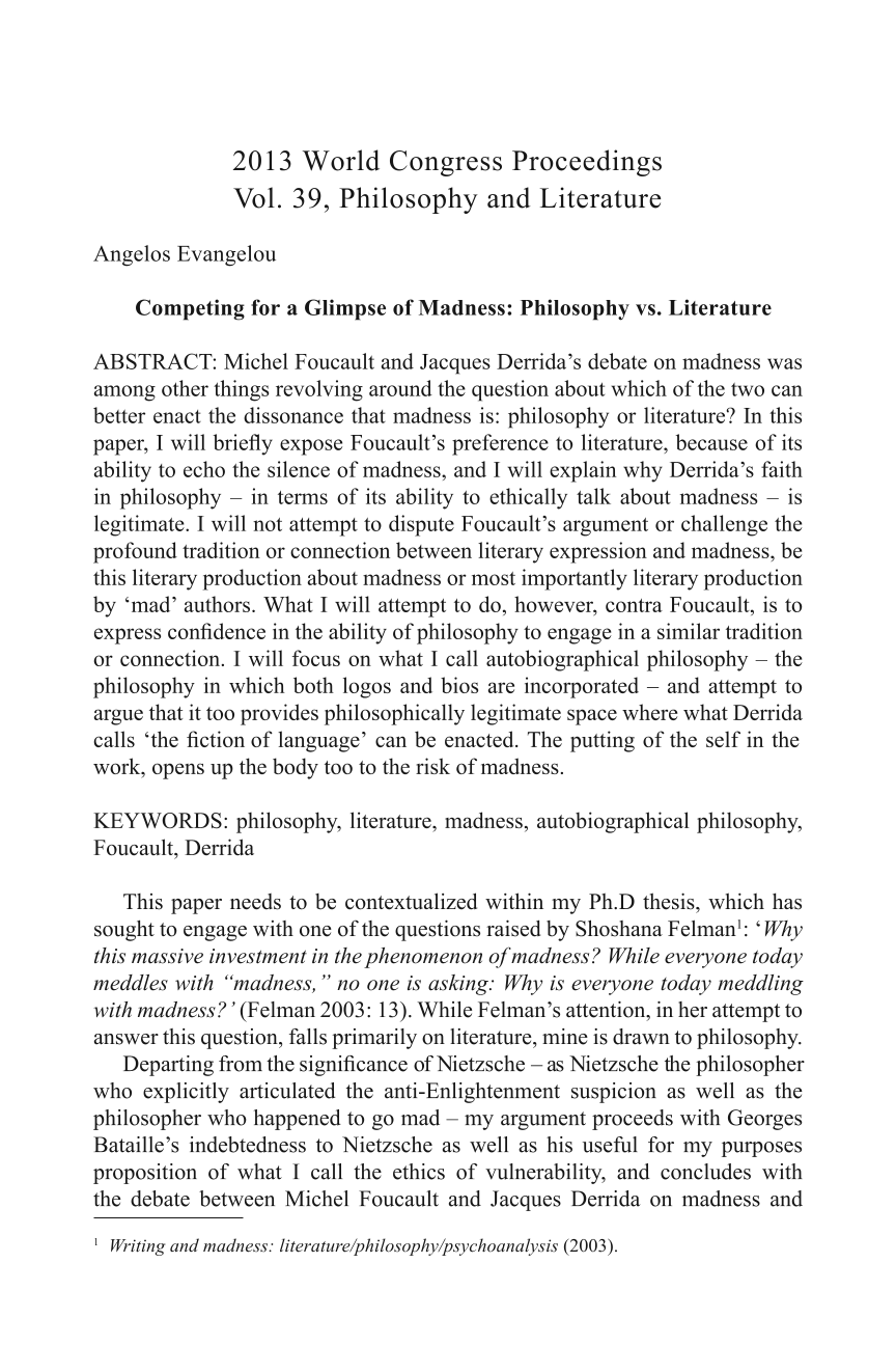 Competing for a Glimpse of Madness: Philosophy vs