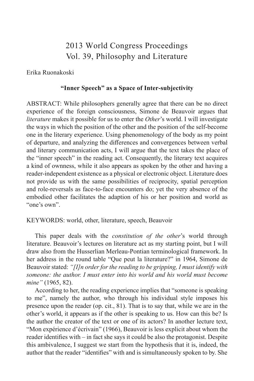 "Inner Speech"" as a Space of Inter-subjectivity - Erika"