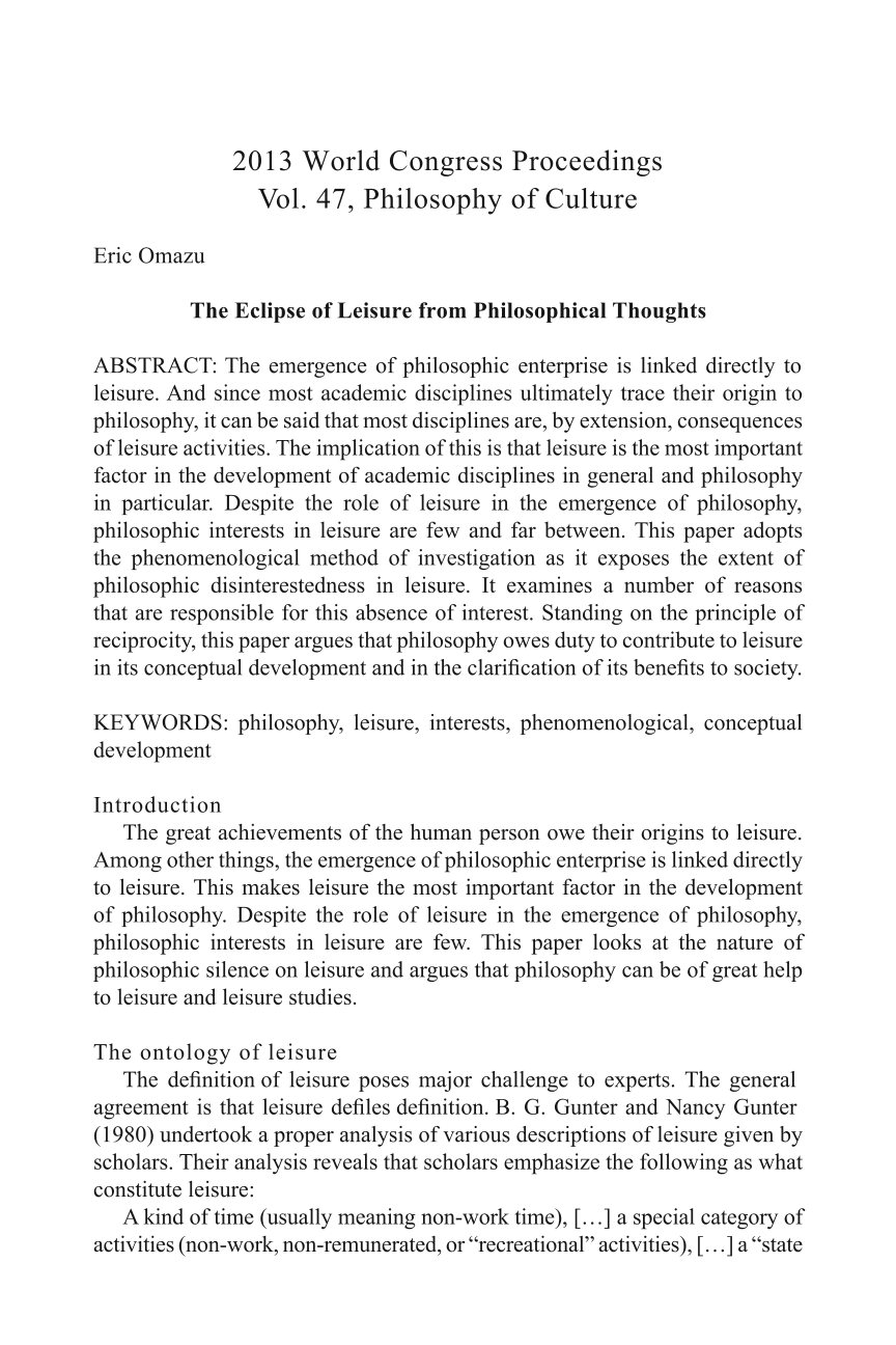 the eclipse of leisure from philosophical thoughts - eric omazu