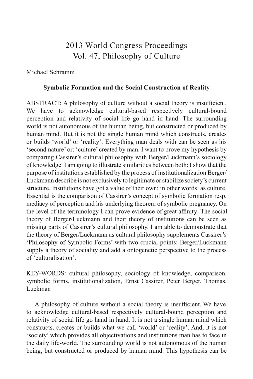 Symbolic Formation And The Social Construction Of Reality Michael