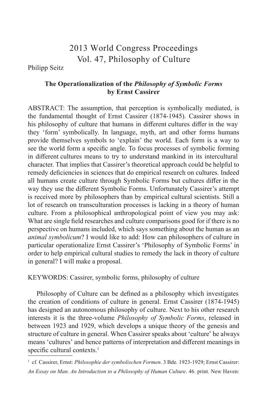 The Operationalization Of The Philosophy Of Symbolic Forms By Ernst