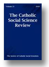 Cover of Catholic Social Science Review
